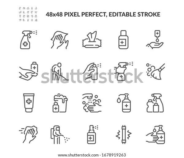 Simple Set of Disinfection and Cleaning Related Vector Line Icons.  Contains such Icons as Man in Disinfection Protective Suite, Sanitizer, Spray more. Editable Stroke. 48x48 Pixel Perfect.