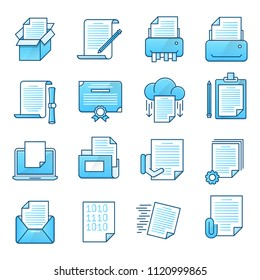Simple Set Document Flat Icons for Website and Mobile Apps. Contains such Icons as Archive,Attachment,Batch processing,Clipboard,Document flow .Vector illustration.