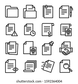 Simple Set of Document Related Color Vector Line Icons. Contains such Icons as Batch Processing, Legal Documents, Clipboard, Download, Document Flow and more.