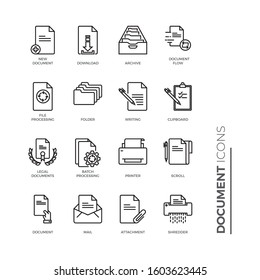 Simple Set of Document Related Vector Line Icons. Contains such Icons as Batch Processing, Legal Documents, Clipboard, Download, Document Flow and more.