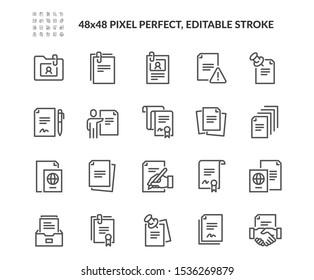 Einfache Gruppe von Dokumenten verwandte Vektorliniensymbole. Enthält Symbole wie Vertrag, Pass, Leer-Seiten und mehr. Bearbeitbarer Stroke. 48x48 Pixel perfekt.