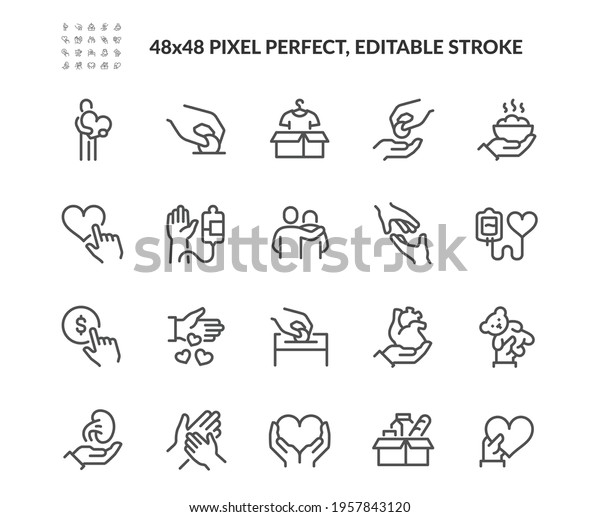 Simple Set of Donations and Charity Related Vector Line Icons.  Contains such Icons as Help, Box of Clothes, Toys Giveaway and more. Editable Stroke. 48x48 Pixel Perfect.