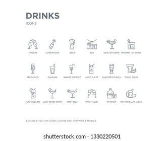 simple set of drinks vector line icons. contains such icons as watermelon juice, whiskey, wine toast, martinez, last word drink, tom collins, pisco sour, planter's punch, mint julep and more.