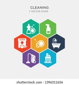 simple set of dumpster, carpet cleaning, bathtub cleaning, washing dishes icons, contains such as icons baking soda, deodorizer, dishwashing detergent and more. 64x64 pixel perfect. infographics