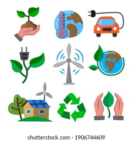Simple Set of Eco flat color Icons. Contains such Icons as Electric Car, Global Warming, Forest, Organic Farming and more.
