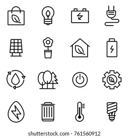 Simple Set of Eco Related Vector Line Icons. Icons for renewable energy, green technology.