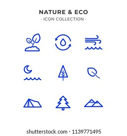 Simple Set of Ecology Related Color Vector Line Icons. Trendy Flat Style isolated on Slate White Background.