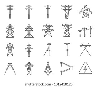 Simple Set of Electric tower Related Vector Line Icons. Contains such Icons as electricity, grid, tower, lightning discharge, wire, electric wire and more.