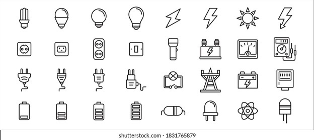 Simple Set of electricity component Related Vector icon graphic design template. Contains such Icons as light bulb, electric shock symbol, flashlight, torch, power line tower, plugin and battery