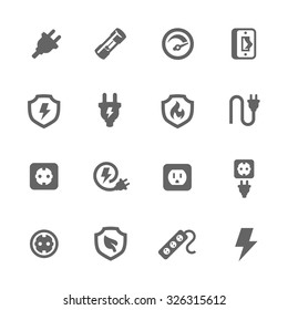 Simple Set of Electricity Related Vector Icons for Your Design.