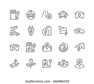 Simple Set of Electro Car Related Vector Line Icons.  Contains such Icons as Charger Station, Travel Distance, Torque, Power and more. Editable Stroke. 48x48 Pixel Perfect.