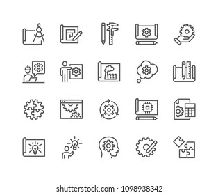 Simple Set of Engineering Design Related Vector Line Icons. \nContains such Icons as Blueprint, Idea, Tools and more. Editable Stroke. 48x48 Pixel Perfect.