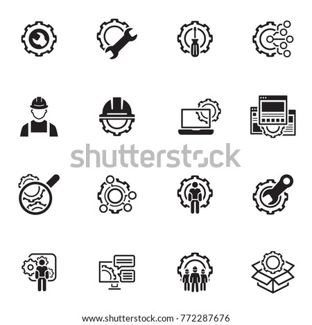 Simple Set Engineering Flat Line Icons Stock Vector Royalty Free