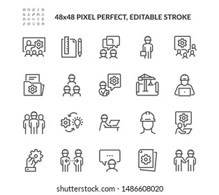 Simple Set of Engineering People Related Vector Line Icons. Contains such Icons as Teamwork, Tech Presentation, Communication and more. Editable Stroke. 48x48 Pixel Perfect.