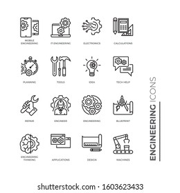 Simple Set of Engineering Related Vector Line Icons. Contains such Icons as Calculations, Blueprint, Engineer, App Design and more.