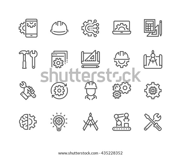 Simple Set of Engineering Related Vector Line Icons.  Contains such Icons as Manufacturing, Engineer, Production, Settings and more.  Editable Stroke. 48x48 Pixel Perfect.