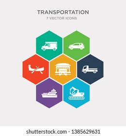 simple set of excavators, ferry boat, flatbed lorry, funicular railway icons, contains such as icons gondola, hatchback, haul and more. 64x64 pixel perfect. infographics vector