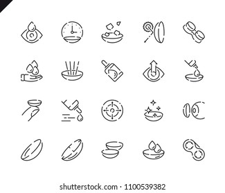 Simple Set Eye Lens Line Icons for Website and Mobile Apps. Contains such Icons as Lenses, Protection Container, Eyedropper, Medicine. 48x48 Pixel Perfect. Vector illustration.