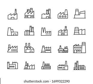 Simple set of factory icons in trendy line style. Modern vector symbols, isolated on a white background. Linear pictogram pack. Line icons collection for web apps and mobile concept.