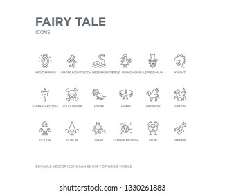 simple set of fairy tale vector line icons. contains such icons as fanfare, faun, female medusa, giant, goblin, golem, griffin, gryphon, harpy and more. editable pixel perfect.