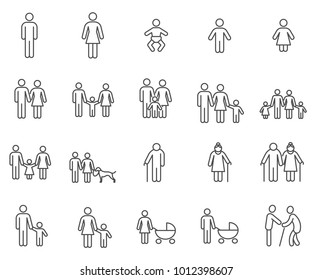 Simple Set of family Related Vector Line Icons. Contains such Icons as parents, children, care, relations, brother, sister, child, grandmother, grandfather, home  and more.