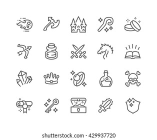Simple Set of Fantasy Related Vector Line Icons.  Contains such Icons as Dragon, Magic Stuff, Fireball, Golden Coins and more.  Editable Stroke. 48x48 Pixel Perfect.