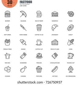 Simple Set of Fastfood Related Vector Line Icons. Contains such Icons as Burger, Sausage, Sandwich, Pizza, French Fries, Hot-dog and more. Editable Stroke. 48x48 Pixel Perfect.