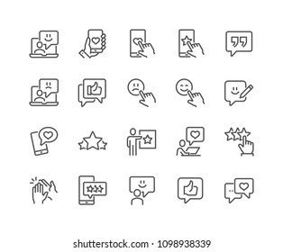 Simple Set of Feedback Related Vector Line Icons. Contains such Icons as Star Rating, User Opinion, Testimonial and more. Editable Stroke. 48x48 Pixel Perfect.