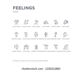 simple set of feelings vector line icons. contains such icons as helpless human, hopeful human, hopeless human, horrible hot hungry hurt impatient in love and more. editable pixel perfect.