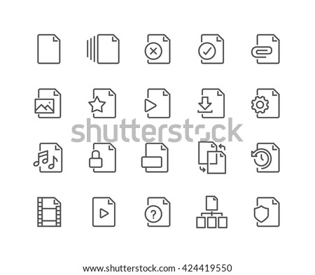 Simple Set File Related Vector Line Stock Vector (Royalty Free
