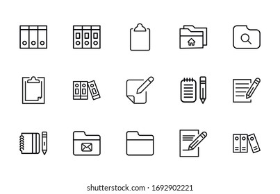 Simple set of Files modern thin line icons. Trendy design. Pack of stroke icons. Vector illustration isolated on a white background. Premium quality symbols.