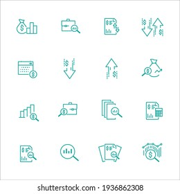 Simple Set of Financial Analytics Related Vector Line Icons. Contains such Icons as Gainers and Losers, Portfolio Analysis, Financial Report and more.
