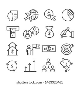 Simple set of financial, marketing minimal icon isolated. Modern outline on white background