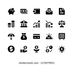 Simple Set of Financial Related Vector Glyph Icons. Contains such Icons as piggy, money, wallet, bill, coins and More. pixel perfect vector icons based on 32px grid. Well Organized and Layered.