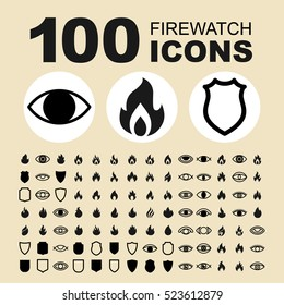 Simple Set of Fire Protection Related Vector Icons. Contains such Icons as Fire, Watching, Protection, System, Safety, Shield, Eye and more.
