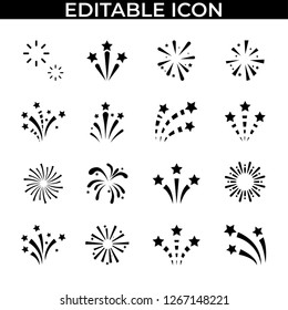 Simple Set of Fireworks Happy New Year Vector Line an Fill Icons