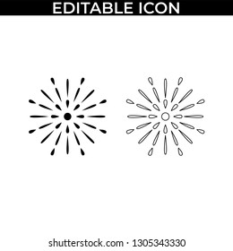 Simple Set of Fireworks Party Vector Line and Fill Icons