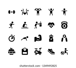 Simple Set of Fitness Related Vector Glyph Icons. Contains such Icons as dumbbell, exercise, run, boxing, push up and More. pixel perfect vector icons based on 32px grid. Well Organized and Layered