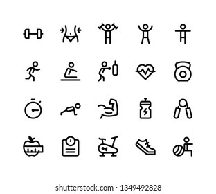 Simple Set of Fitness Related Vector Line Icons. Contains such Icons as dumbbell, exercise, run, boxing, push up and More. pixel perfect vector icons based on 32px grid. Editable Strokes