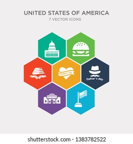 simple set of flag day, albuquerque, father's day, mother's day icons, contains such as icons united states, burger, white house and more. 64x64 pixel perfect. infographics vector