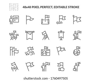 Simple Set of Flag Related Vector Line Icons. Contains such Icons as Achievement, Victory, Map with a Flag and more. Editable Stroke. 48x48 Pixel Perfect.