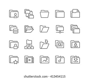 Simple Set of Folders Related Vector Line Icons.  Contains such Icons as Repository, Sync, Network Folder and more.  Editable Stroke. 48x48 Pixel Perfect.