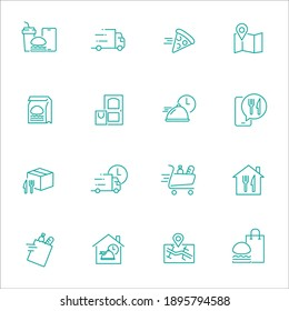 Simple Set of Food Delivery Related Vector Line Icons. Contains such Icons as Courier on the bike, Food Box, Contactless Delivery and more.