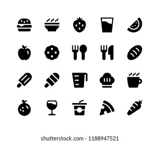 Simple Set of Food & Drink Related Vector Glyph Icons. Contains such Icons as burger, bowl, strawberry, watermelon, cookie and More. pixel perfect vector icons based on 32px grid. Well Organized