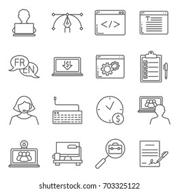 Simple Set of freelance work Related Vector Line Icons. Contains such Icons as remote work, profession, freelancer and more.