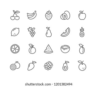 Simple Set of Fruits Related Vector Line Icons. Contains such Icons as Strawberry, Orange, Watermelon and more. Editable Stroke. 48x48 Pixel Perfect.