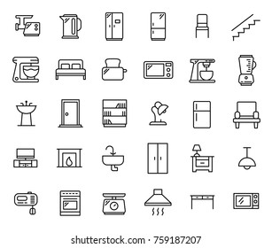 Simple set of furniture related outline icons. Elements for mobile concept and web apps. Thin line vector icons for website design and development, app development. Premium pack.