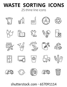 Simple Set of Garbage  Related Vector Line Icons. Waste sorting.Thine line icons. EPS 10. Contains such Icons as Cardboard, Organic Waste, Plastic, Aluminium, rubber, Car utilization