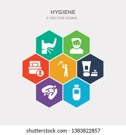 simple set of gel, sanitary, shaving gel, ablution icons, contains such as icons baby wipe, beardy, body odour and more. 64x64 pixel perfect. infographics vector