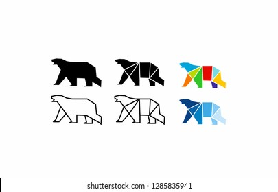 simple set geometric black polar bear walk logo icon designs vector